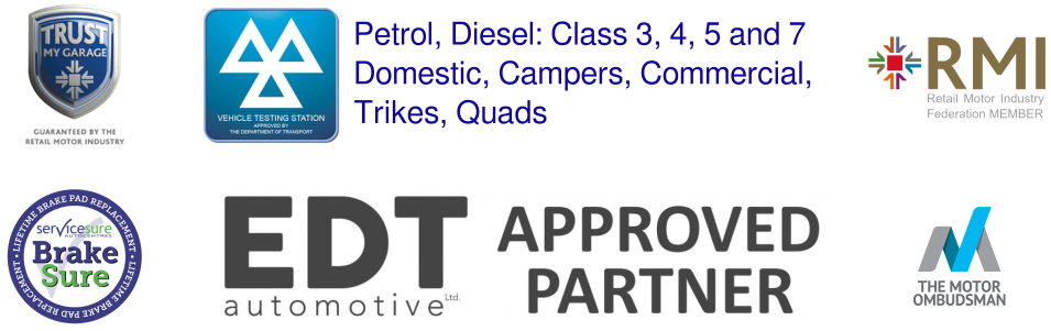 Logos for MOT Vehicle testing station, petrol, diesel, class 3, 4, 5 and 7, domestic, campers, commercial, trikes, quads. Trust my Garage. RMI member. ServiceSure. BrakeSure.EDT automotive approved partne. The motor ombudsman.